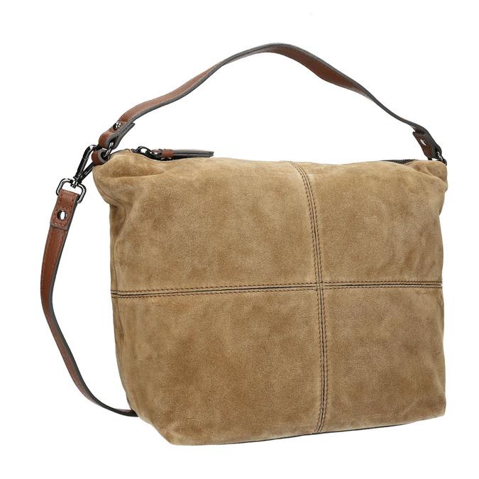 Leder-Handtasche mit Steppung bata, Braun, 963-3130 - 13