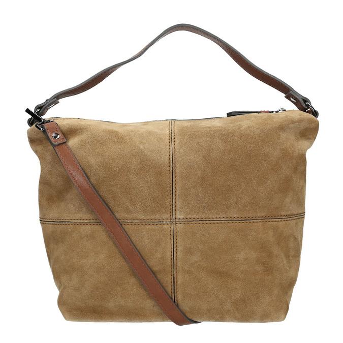 Leder-Handtasche mit Steppung bata, Braun, 963-3130 - 19