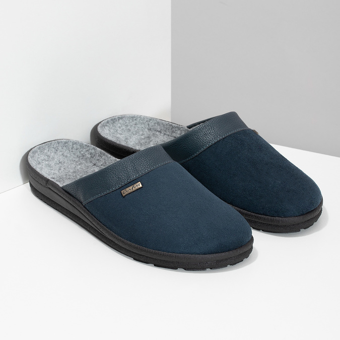 Herren-Hausschuhe bata, Blau, 879-9600 - 26