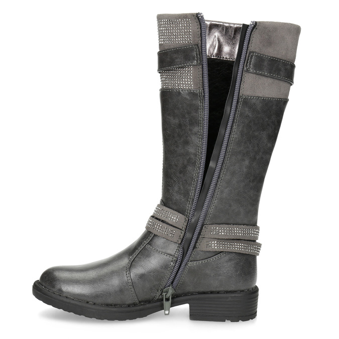 Mädchen-Stiefel mit Steinchen mini-b, Grau, 391-2655 - 17