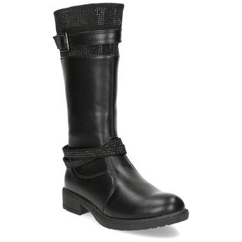 Schwarze Mädchenstiefel mini-b, Schwarz, 391-6655 - 13