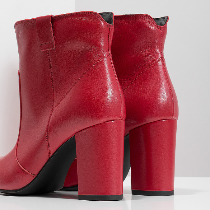 Rote Stiefeletten aus Leder bata, Rot, 794-5652 - 18