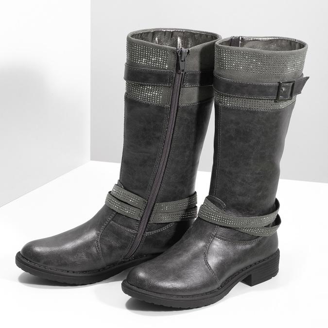 Mädchen-Stiefel mit Steinchen mini-b, Grau, 391-2655 - 16